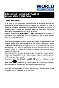 Information by the WORLD PALLET AG – Licensor of the WORLD Pallet