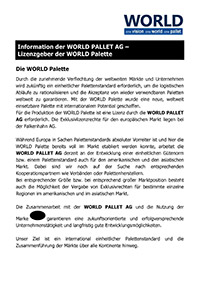 Information der WORLD PALLET AG – Lizenzgeber der WORLD Palette